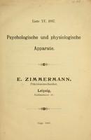 view Liste XV, 1897 : Psychologische und physiologische Apparate / E. Zimmermann, Präcisionmechaniker.