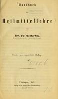 view Handbuch der Heilmittellehre / von Fr. Oesterlen.