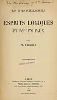 view Les types intellectuels / Esprits logiques et esprits faux par Fr. Paulhan.