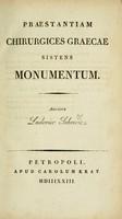 view Praestantiam chirurgices Graecae sistens monumentum / auctore Ludovico Sakowicz.