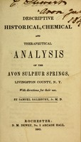 view A descriptive, historical, chemical and therapeutical analysis of the Avon sulphur springs, Livingston County, N.Y : with directions for their use