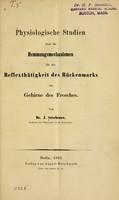 view Physiologische studien über die Hemmungsmechanismen für die reflexthätigkeit des Rückenmarks im gehirne des Frosches / von Dr. J. Setschenow.