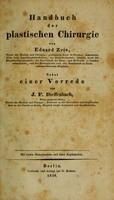 view Handbuch der plastischen Chirurgie / von Eduard Zeis ; nebst einer Vorrede von J.F. Dieffenbach ; mit vielen Holzschnitten und Zwei Kupfertafeln.