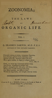 view Zoonomia, or, The laws of organic life : vol. I