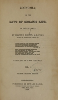 view Zoonomia; or The laws of organic life: in three parts (Volume 1).
