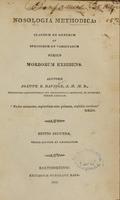 view Nosologia methodica : classium et generum et specierum et varietatum series morborum exhibens / auctore Joanne B. Davidge.