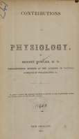 view Contributions to physiology / by Bennet Dowler.
