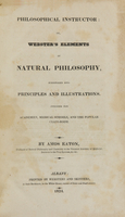 view Philosophical instructor, or, Webster's elements of natural philosophy : subdivided into principles and illustrations ; intended for academies, medical schools, and the popular class-room / by Amos Eaton.
