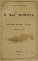 view First anniversary of the Woman's Hospital held at Clinton Hall, Astor Place, New York.