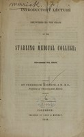 view Introductory lecture delivered to the class of the Starling Medical College : November 1st, 1848