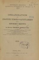 view Organisation et institutions sanitaires de la République argentine