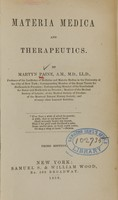 view Materia medica and therapeutics / by Martyn Payne.