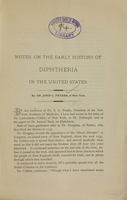 view Notes on the early history of diphtheria in the United States / by John C. Peters.