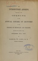 view An introductory address, delivered at the opening of the annual course of lectures of the College of Physicians and Surgeons, in the city of New York, October 19th, 1857