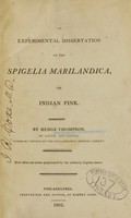 view An experimental dissertation on the Spigelia marilandica, or Indian pink
