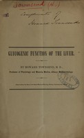 view Glycogenic function of the liver / by Howard Townsend.