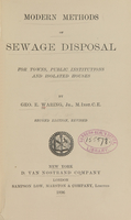 view Modern methods of sewage disposal : for towns, public institutions, and isolated houses