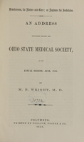 view Drunkenness, its nature and cure, or, Asylums for inebriates : an address delivered before the Ohio State Medical Society at its annual session, June 1859 / by M.B. Wright.