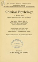 view Criminal psychology : a manual for judges, practitioners, and students