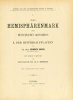 view Das Hemisphärenmark des menschlichen Grosshirns / von Heinrich Sachs, mit einem Vorwort von C. Wernicke.