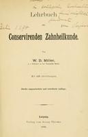 view Lehrbuch der conservirenden Zahnheilkunde / von W.D. Miller.