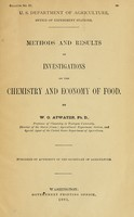 view Methods and results of investigations on the chemistry and economy of food / By W. O. Atwater.