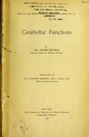 view Cerebellar functions / Translated by W. Conyers Herring.