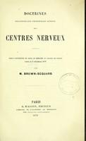 view Doctrines relatives aux principles actions des centres nerveux.