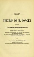 view Examen de la theorie de M. Longet.