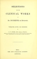 view Selections from the clinical works of Duchenne / Translated and edited by G.V. Poore.