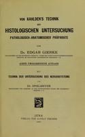 view Von Kahlden's Technik der Histologischen Untersuchung Pathologisch-anatomischer Praparate.