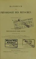 view Handbuch der Physiologie des Menschen : Edited by J.von Kries et al.
