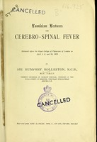 view Lumleian Lectures on cerebro-spinal fever / Initialled by author.