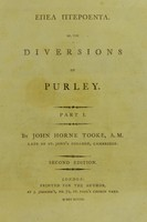 view Ettea Ittepoenta, of the diversions of Purley.