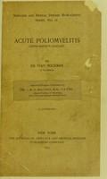 view Acute poliomyelitis (Heine-Medins disease) / translated by W.J.M.A. Maloney.
