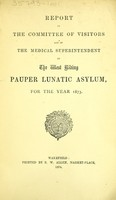 view Report of the Committee of Visitors and of the medical superintendent of the West Riding Pauper Lunatic Asylum, for the year 1873.