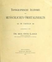 view Topographische anatomie des menschlichen Orbitalinhalts : in tafeln / dargestellt von Otto Lange.