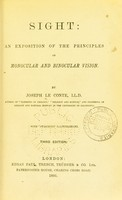 view Sight : an exposition of the principles of monocular and binocular vision / by Joseph Le Conte.
