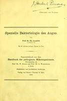 view Spezielle Bakteriologie des Auges / von Th. Axenfeld.