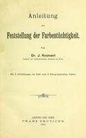 view Anleitung zur Feststellung der Farbentüchtigkeit / von J. Rosmanit.