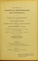 view Ein Beitrag zur Casuistik der Radialislähmungen nach Ätherinjection / Ludwig Fischel.