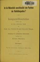 view Ist die Melancholie ausschliesslich eine Psychose des Rückbildungsalters? / von Erwin Rückle.