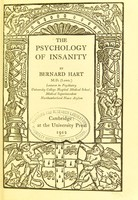 view The psychology of insanity / by Bernard Hart.