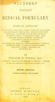 view Saunders' pocket medical formulary : with an appendix ... / by William M. Powell.