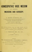 view The homoeopathic vade mecum of modern medicine and surgery / by E. Harris Ruddock ... With clinical directory. Chapter on poisons and health resorts.