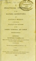 view A practical synopsis of the materia alimentaria and materia medica / by Richard Pearson.