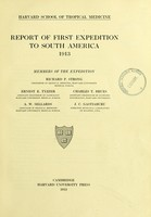 view Report of first expedition to South America, 1913.