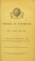 view Cholera in Tynemouth in 1831-2, 1848-9, and 1853