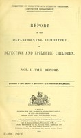 view Report of the Departmental Committee on Defective and Epileptic Children.