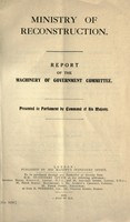 view Report of the Machinery of government committee.